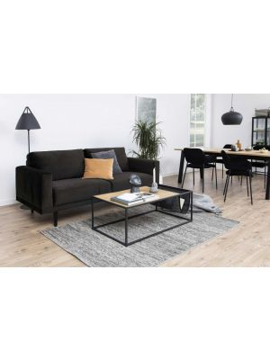 24Designs Earley 3-Zits Velvet Bank - Fluweel Bruin/Grijs - Zwarte Houten Poten
