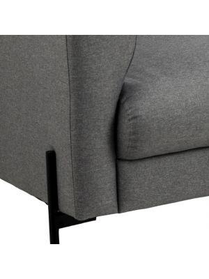 24Designs Urban 2-Zits Bank - Stof Lichtgrijs - Zwarte Metalen Poten