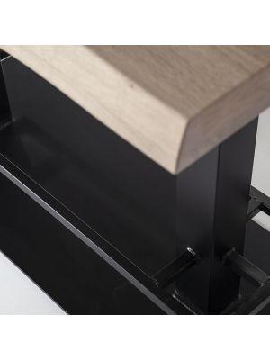 24Designs Luke Countertafel - 140x80x94 - Tafelblad Zwart Eiken - Zwart Metalen Onderstel