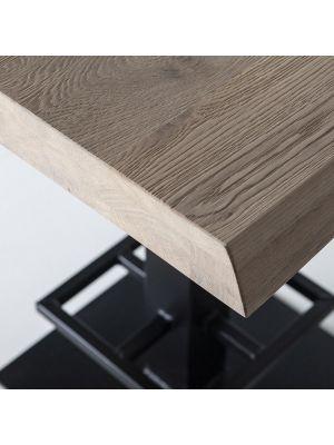 24Designs Luke Countertafel - 80x80x94 - Tafelblad Eikenhout - Zwart Metalen Onderstel