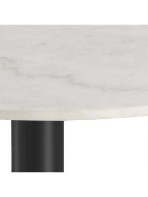24Designs Bellino Ronde Eettafel 3 a 4 personen - Diameter 105 cm - Wit Marmer - Zwart