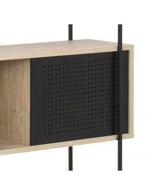24Designs Wandkast Billund - 172x27x188 - Eiken White Wash Decor - Metalen Frame