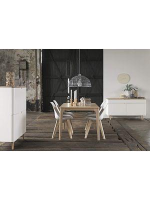 24Designs Grindsted Boekenkast - 2-Laden - B82 x D30 x H194 cm - Wit - Eiken White Wash
