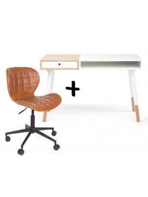 24Designs Bureau Sunshine L120 x B60 x H75 cm - Mat Wit - Inclusief bureaustoel