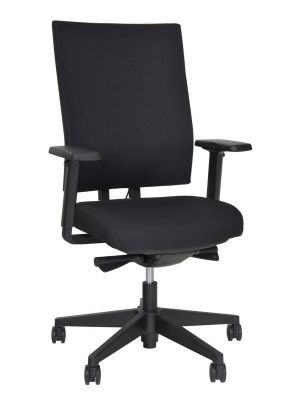 24Designs Atlanta Ergonomische Bureaustoel EN1335 - Stof Zwart - Zwart Onderstel