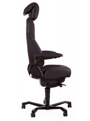 24Designs Pro-Brighton 24-uurs Bureaustoel - Mix Stof & Leer Zwart - Aluminium Onderstel