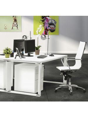 24Designs Jovany Bureaustoel - Kunststof Wit - Verchroomd Metalen Onderstel