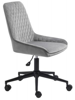 24Designs Carter Bureaustoel Velvet - Fluweel Grijs - Zwarte Kruispoot op wielen