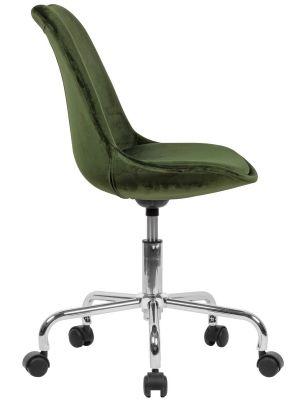 24Designs Bureaustoel Dex Office Velvet - Kuipstoel Fluweel Groen - Kruispoot op wielen