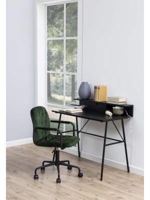 24Designs Grace Velvet Bureaustoel - Bosgroen Fluweel - Zwarte Kruispoot met Wielen