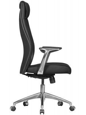 24Designs Livio Bureaustoel - Zwart Leer - Aluminium Kruispoot met Wielen