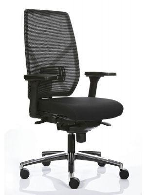 24Designs Ergonomische Bureaustoel Monaco NPR 1813 - Wit Rugframe/Zwarte Zitting - Onderstel Gepolijst Aluminium