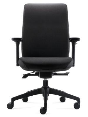 24Designs SALE - Move SYNCHRO-4 Ergonomische Bureaustoel - Zwarte Stof - Zwart Onderstel