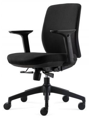 24Designs Vesta ERGO-4 Ergonomische Bureaustoel EN1335 - Zwarte Stof - Zwart Onderstel