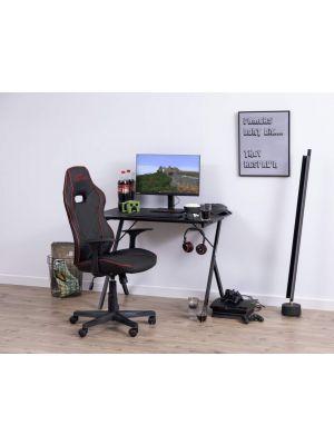 24Designs Rabbit Gamestoel en Bureaustoel - Zwart met rode bies