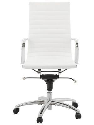 24Designs Marino Bureaustoel - Kunstleer Wit - Hoge Rugleuning - Verchroomd Metalen Onderstel