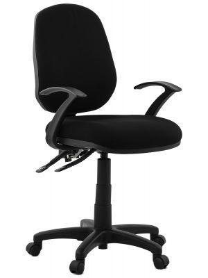24Designs Lizano Bureaustoel - Stof Zwart - Kunststof Onderstel