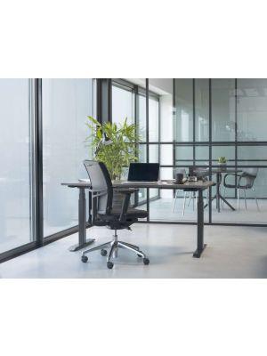 24Designs Vegas Ergonomische Bureaustoel EN1335 - Stof Zwart - Aluminium Onderstel