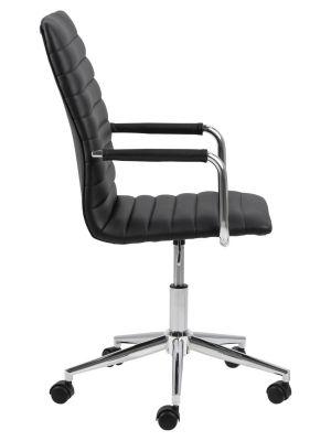 24Designs Winston Bureaustoel - Zwart Leer - Chromen Metalen Kruispoot met Wielen