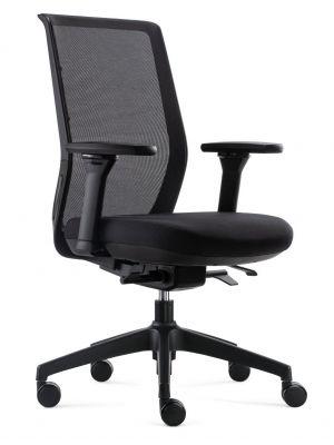 24Designs Ergonomische Bureaustoel NEN1335 - Work SYNCHRO-4 - Zwarte Stof/Mesh - Zwart Onderstel