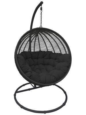 24Designs Hangstoel Cocoon Deluxe 1-Persoons Egg Chair - Zwart