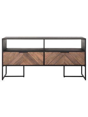 24Designs Criss Cross TV meubel - B120 x D40 x H60 cm - Zwart/Bruin