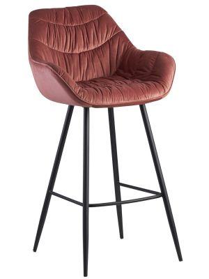 24Designs Dauphine Barkruk Velvet - Zithoogte 75 cm - Roze Fluweel - Metalen Poten