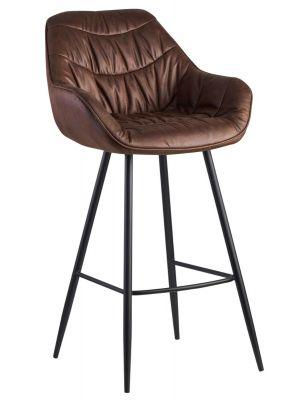 24Designs Dauphine Barkruk - Zithoogte 75 cm - Bruin Kunstleer - Metalen Poten
