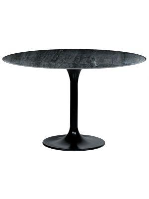 24Designs Delfina Ronde Eettafel - Ø120x76 cm - Zwart Marmer - Zwart Metalen Onderstel