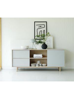 24Designs Harstad Dressoir 1-Deur/2-Laden - B180 x D45 x H75 cm - Grijs HPL - Eiken White Wash
