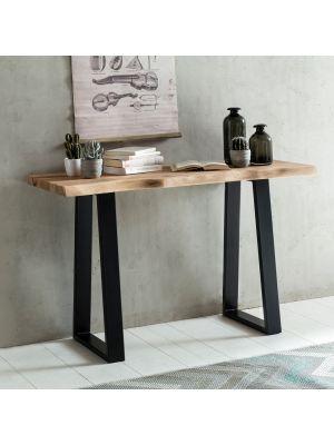 24Designs Duke Sidetable - L120 x B45 x H75 cm - Boomstam tafelblad - Zwarte Poten