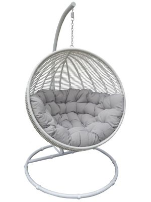 24Designs Hangstoel Cocoon Deluxe 1-Persoons Egg Chair - Wit