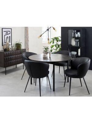 24Designs Gain Stoel Armleuningen - Kunstleer Zwart - Zwarte Metalen Poten