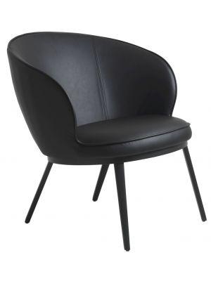24Designs Gain Loungefauteuil - Kunstleer Zwart - Zwarte Metalen Poten