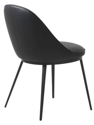 24Designs Gain Stoel - Kunstleer Zwart - Zwarte Metalen Poten