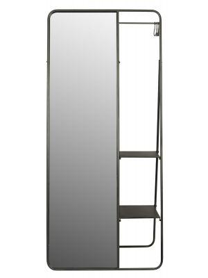 24Designs Gino Spiegel Kapstok - B80 x D50 x H180 cm - Zwart