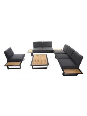 24Designs Portofino Hoek Loungeset incl. Kussens - Antracietgrijs Aluminium