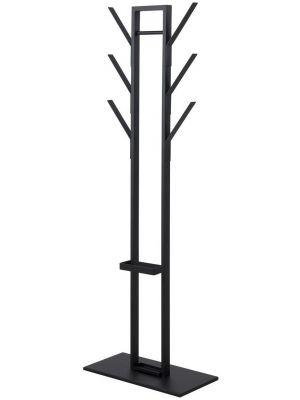 24Designs Vinny Kapstok - B56 x D28 x H165 cm - 6-Haken - Zwart Metaal