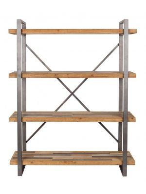 24Designs Liam Plankenkast - B120 x D39 x H149 cm - Vurenhout met Grijs Metaal