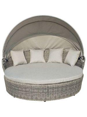 24Designs Ligbed Dreamer - 2-persoons loungebed met zonnehemel - Grijs