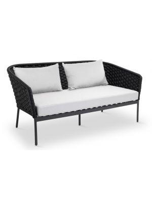24Designs Bilbao 2-Zits Loungebank - Antracietgrijs Textileen - Zwart Aluminium