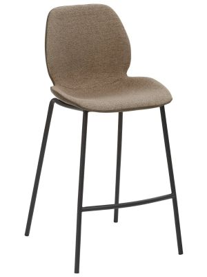24Designs Monti Barkruk - Zithoogte 65 cm - Modderbruin/Zandkleur - Zwart Onderstel