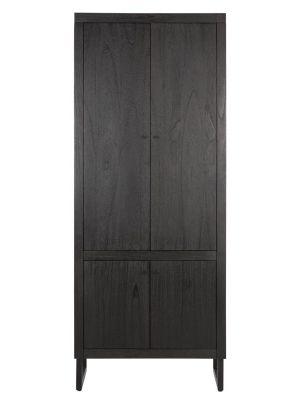 24Designs Night Kast 4-deurs - 80x40x200 - Zwart Mindi Hout