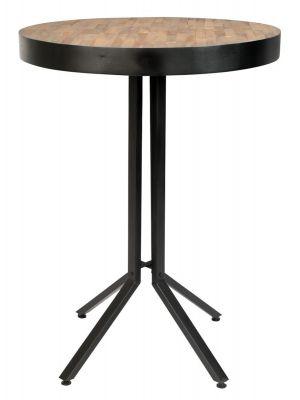 24Designs Nolan Statafel Rond Ø75 x Hoogte 110 cm - Teakhout Naturel - Zwart Metalen Onderstel