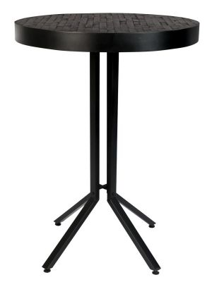 24Designs Nolan Ronde Bartafel Statafel Ø75 x H110 cm - Teakhout Zwart - Zwart Metalen Onderstel