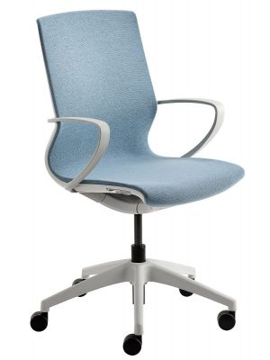24Designs Noor Bureaustoel - Stof Lichtblauw - Lichtgrijze Kruispoot