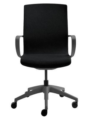 24Designs Noor Bureaustoel - Stof Zwart - Grijze Kruispoot