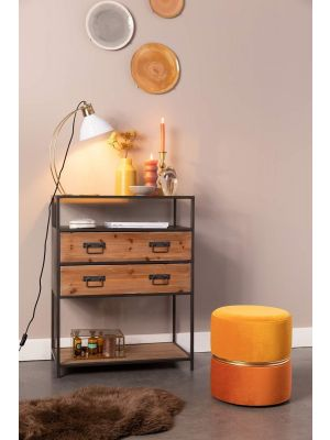 24Designs Maxie Ronde Poef - Ø35x39 - Fluweel Oranje Multikleur