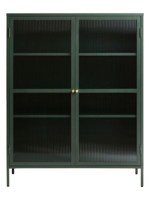 24Designs Prato Vitrinekast 2-Deurs - B110 x D40 x H140 cm - Dennengroen