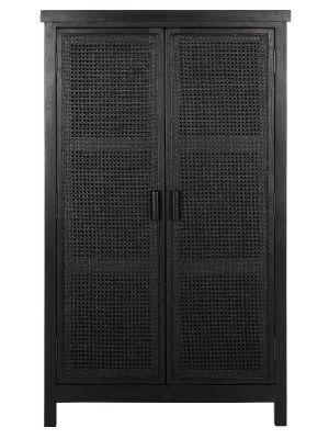 24Designs Provence Webbing Kast 2-Deurs - 80x40x140 cm - Zwart Mindi Hout